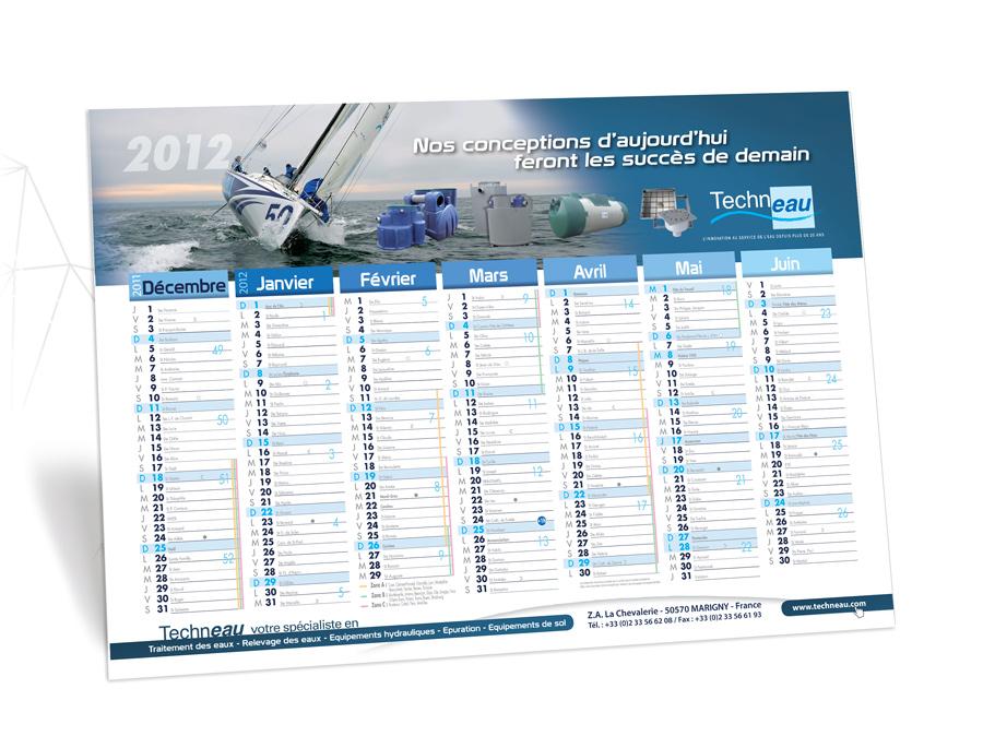 Calendriers A2 couleurs Techneau modèle 2012 recto
