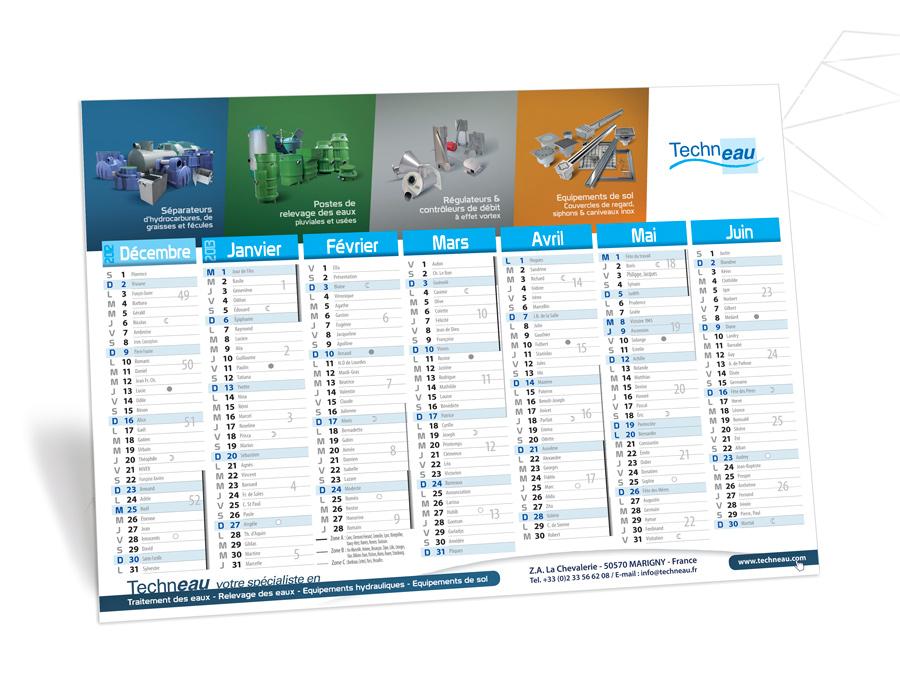 Calendriers A2 aux couleurs Techneau édition 2013