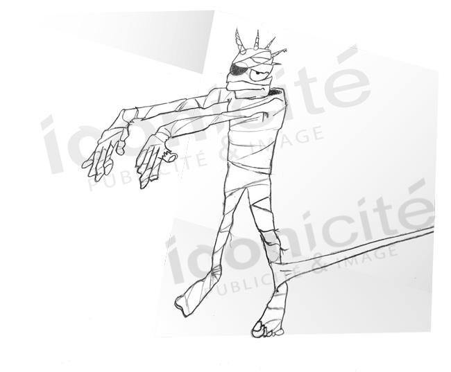 Illustration manche Freelance personnage ziqueur momifié les Zéclopés