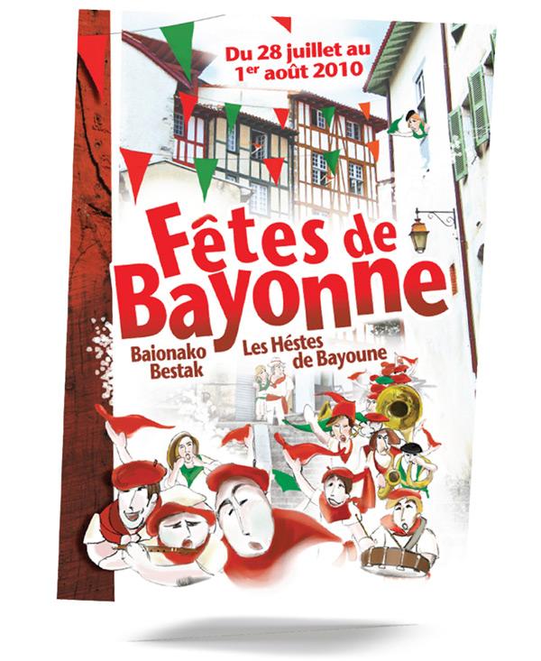 Iconicité graphiste Annoville Manche - projet concours d'affiche générique 2010 fêtes de Bayonne