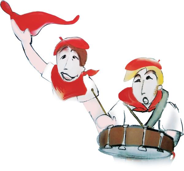 Iconicité graphiste Annoville Manche projet concours d'affiche fêtes de Bayonne Petits Basques
