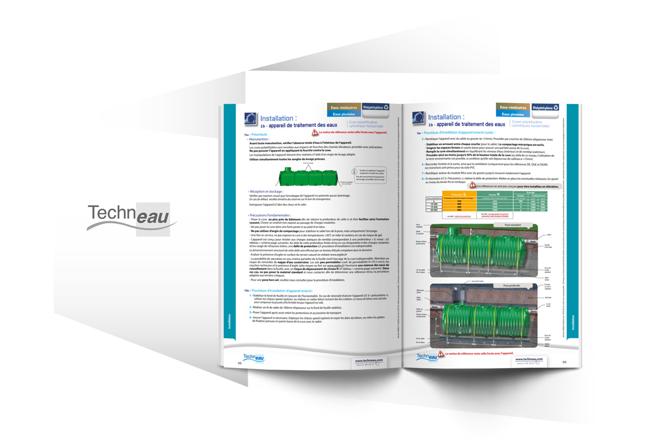Catalogues à onglets consignes d'installation et vues 3D 2 pour Techneau par Iconicité