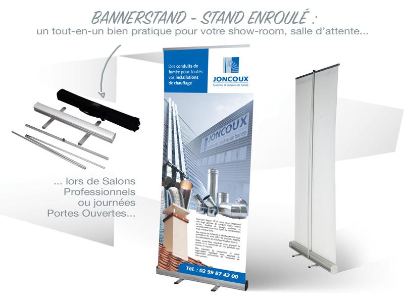Iconicité détail du principe de stand enroulé Roll-Up