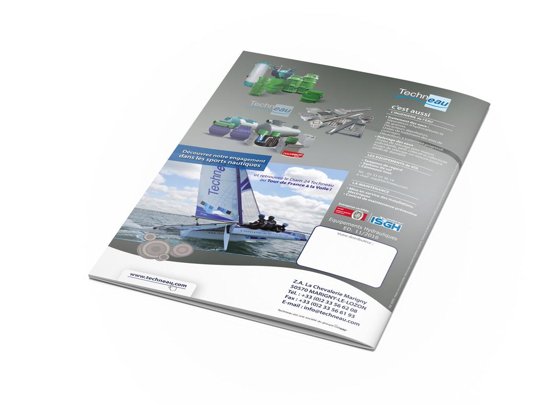 Catalogue Techneau équipements hydrauliques verso par Iconicité graphiste Annoville Manche