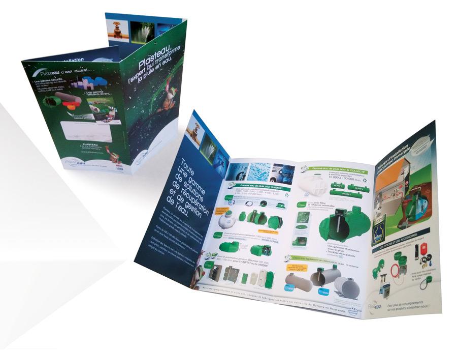 Dépliant produits récupération d'eau de pluie particuliers et industries par Iconicité graphiste à Annoville