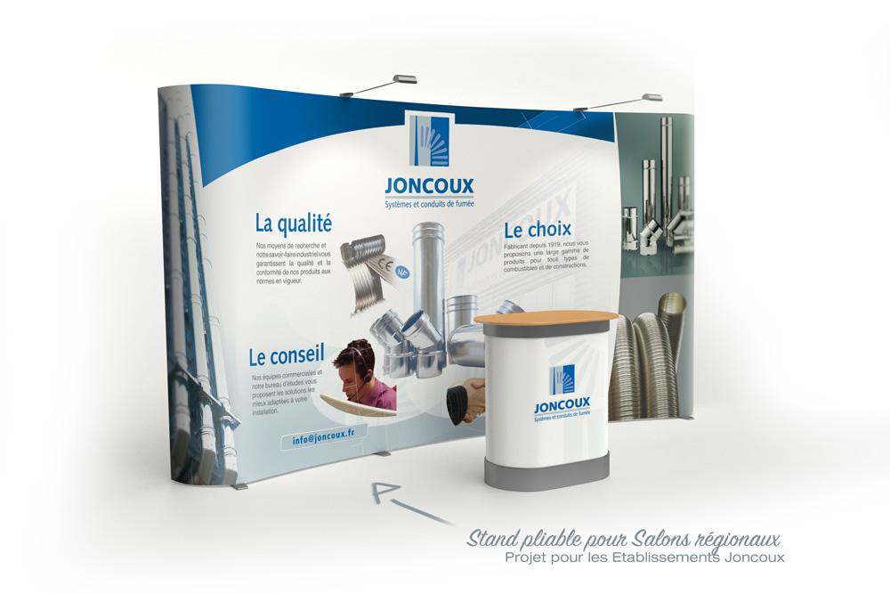 Iconicité proposition de stand structure courbe société Joncoux pour salons régionaux
