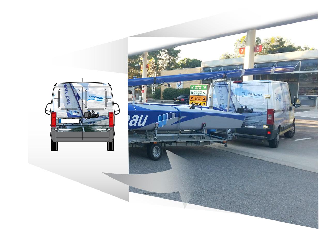 Iconicité designer graphiste Print Manche covering d'un véhicule Techneau pour le Tourvoile