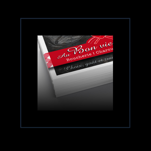 Logotype avec cartes de visites et flyer Boucherie Montmartin-Sur-Mer par Iconicité