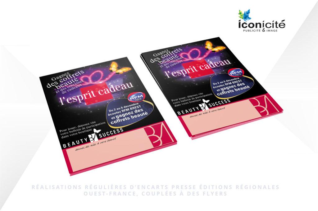 Parutions presse et flyers pour opérations évènementielles par Iconicité Studio Graphique
