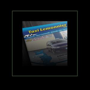 Flyer pour les Taxis Lemonnier Coutances par Iconicité Studio Graphique Manche